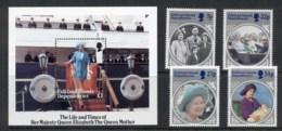 Falkland Is Deps 1985 Queen Mother 85th Birthday + MS MUH - Falkland Islands