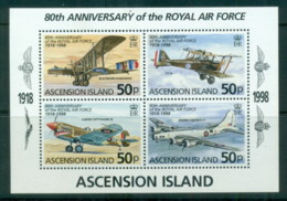 Ascension Is 1998 RAF 80th Anniv MS MUH - Ascension