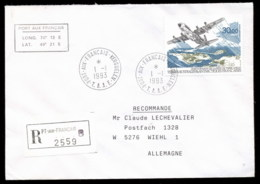 French Antarctic Territory 1993 Adele Land Flight, Plane Cover - French Southern And Antarctic Territories (TAAF)