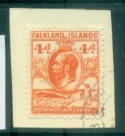 Falkland Is 1929-31 KGV& Penguin 4d Orange On Piece FU Lot77642 - Falkland Islands