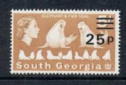 South Georgia 1971-72 QEII Pictorial Elephant & Fur Seals 25p On 5/- MUH - South Georgia