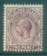 Falkland Is 1912-14 KGV 2d Brown Violet FU Lot77620 - Falkland Islands
