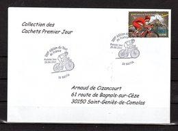 """"""" 100° TOUR DE FRANCE / BASTIA / CORSE """" Sur Env.1er Jour De 2013. Collection """" CACHETS PREMIER JOUR """" N°YT 4762 FDC - Cyclisme"""
