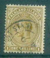 Falkland Is 1912-14 KGV 1/- Bister Brown FU Lot77624 - Falkland Islands