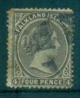 Falkland Is 1879 QV 4d Dark Grey, Tones, Thin LHS FU Lot77566 - Falkland Islands