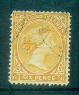 Falkland Is 1891-1902 6d Yellow FU Lot77591 - Falkland Islands