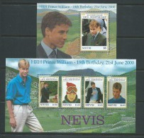 Nevis 2000 Prince William 18th Birthday Miniature Sheet & Sheet Of 4 MNH - St.Kitts And Nevis ( 1983-...)