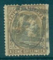 Falkland Is 1878 QV 1/- Bister Brown, Cut RH Side FU Lot77568 - Falkland Islands
