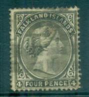 Falkland Is 1886 4d Olive Grey Wmk Sideways FU Lot77588 - Falkland Islands