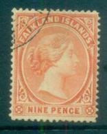 Falkland Is 1891-1902 9d Vermillion FU Lot77592 - Falkland Islands