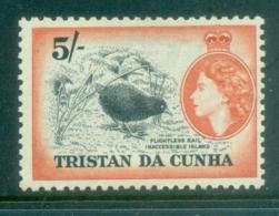 Tristan Da Cunha 1954-58 QEII Pictorials, Bird, Flightless Rail 5/- MUH - Tristan Da Cunha
