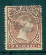 Falkland Is 1894 1d Bright Claret FU Lot77570 - Falkland Islands