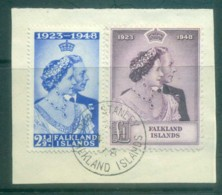 Falkland Is 1948 Silver Wedding On Piece FU Lot77697 - Falkland Islands