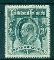 Falkland Is 1904-07 KEVII 3/- Grey Green FU Lot77610 - Falkland Islands