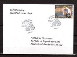 """"""" 100° TOUR DE FRANCE / BASTIA / CORSE """" Sur Env.1er Jour De 2013. Collection """" CACHETS PREMIER JOUR """" N°YT 4760 FDC - Cyclisme"""