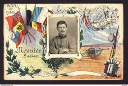 PATRIOTIC WWI Soldier's Inset Photo Campagne De 1914-15 Flags Mounier Gaetan - Patriotic