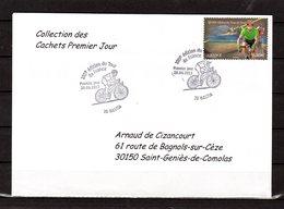 """"""" 100° TOUR DE FRANCE / BASTIA / CORSE """" Sur Env.1er Jour De 2013. Collection """" CACHETS PREMIER JOUR """" N°YT 4759 FDC - Cyclisme"""