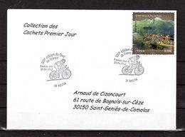 """"""" 100° TOUR DE FRANCE / BASTIA / CORSE """" Sur Env.1er Jour De 2013. Collection """" CACHETS PREMIER JOUR """" N°YT 4758 FDC - Cyclisme"""