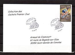 """"""" 100° TOUR DE FRANCE / BASTIA / CORSE """" Sur Env.1er Jour De 2013. Collection """" CACHETS PREMIER JOUR """" N°YT 4757 FDC - Cyclisme"""