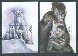 Nevis 1998 Endangered Species Polar Bear & Mandrill Miniature Sheets MNH - St.Kitts And Nevis ( 1983-...)
