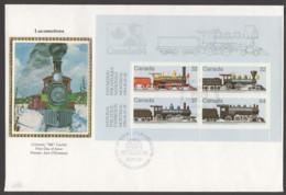 1984  Old Locomotives, Series 2  Souvenir Sheet Sc 1039a Colorano Silk Cachet - Omslagen Van De Eerste Dagen (FDC)