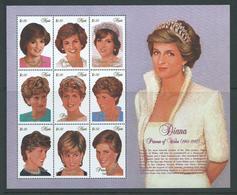 Nevis 1997 Princess Diana Memorial Sheet Of 9 Values MNH - St.Kitts-et-Nevis ( 1983-...)