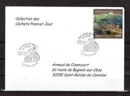 """"""" 100° TOUR DE FRANCE / PORTO-VECCHIO / CORSE """" Sur Env 1er Jour De 2013 Collection CACHETS PREMIER JOUR N°YT 4758 FDC - Cyclisme"""