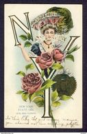 NEW YORK State Girl Seal, Rose, Woman Holding Letters (N.Y.) With Roses 1907 - Other