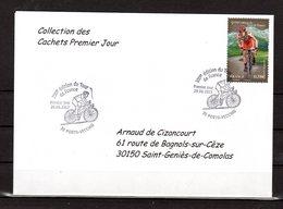 """"""" 100° TOUR DE FRANCE / PORTO-VECCHIO / CORSE """" Sur Env 1er Jour De 2013 Collection CACHETS PREMIER JOUR N°YT 4756 FDC - Cyclisme"""