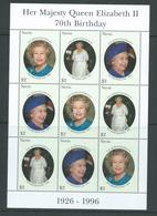 Nevis 1996 QEII 70th Birthday Sheet Of 3 Strips Of 3 MNH - St.Kitts And Nevis ( 1983-...)