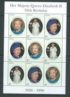 Nevis 1996 QEII 70th Birthday Sheet Of 3 Strips Of 3 MNH - St.Kitts-et-Nevis ( 1983-...)