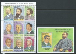 Nevis 1995 Nobel Prize Winners Sheet Of 9 & Miniature Sheet MNH - St.Kitts-et-Nevis ( 1983-...)