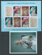 Nevis 1995 Queen Mother Sheet Of 2 Strips Of 4 & Miniature Sheet MNH - St.Kitts And Nevis ( 1983-...)