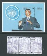 Nevis 1995 United Nations Anniversary Strip Of 3 & Mandela Miniature Sheet MNH - St.Kitts And Nevis ( 1983-...)
