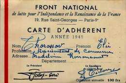 FRONT NATIONAL...CARTE D'ADHERENT..1949...DOS VIERGE - Cartes
