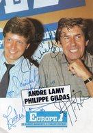 Carte Dédicacée De Philippe Gildas Et André Lamy, Pub Europe 1 - Autographes
