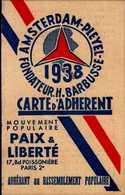 MOUVEMENT POPULAIRE PAIX ET LIBERTE ...1938 ..CARTE D'ADHERENT - Cartes