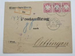 NÖRDLINGEN , Früher Einschreibbrief - Bavaria