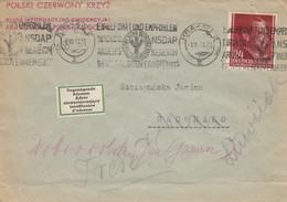 GG: Brief Poln. Rotes Kreuz Krakau Nach Radomsko Und Zurück. Klebezettel Adresse - Occupation 1938-45