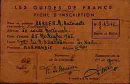 LES GUIDES DE FRANCE....FICHE D'INSCRIPTION 1946....DOS VIERGE - Cartes