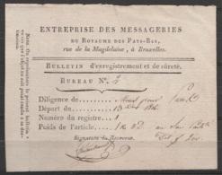 Bulletin D'enregistrement Et De Sûreté - Messageries Du Royaume Des Pays-Bas - Décembre 1816 Départ De La Diligence De M - Documents Historiques
