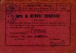 JEANNE D'ARC D'EVREUX...CARTE DE MEMBRE HONORAIRE A 10F.....DOS VIERGE - Cartes