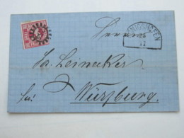 1865 , KÖNIGSHOFEN   , Klarer Nummernstempel Auf Brief - Bayern