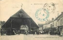 """91 - MILLY - HALLES ET PLACE DU MARCHE - CACHET MILITAIRE """" 1er REGIMENT......."""" - France"""