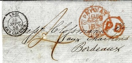 """1858- Letter From  Dublin To Bordeaux ( France )   Red PAID AT / DUBLIN   + Black Entrance """" ANGL / AMB. CALAIS M """" - Irlande"""