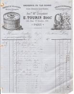 Facture Tourin E Brosseries En Tous Genres 59 Rue St Martin Paris - Petits Métiers
