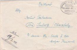 German Feldpost WW2: To 2. HeeresUffz Schule Für Artillerie In Amberg With Train Cachet  1944 - Cover Only (DD24-52) - Militaria