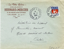 1966- Enveloppe à En-tête Affr. 0,30 F Annulé Conv. Ligne HAZEBROUCK A ARRAS 2 ° - Poststempel (Briefe)