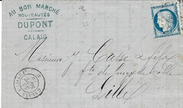 1874 - Lettre De Calais Affr. N°60  Oblit. Losange Avec Cad AMB.  CALAIS A LILLE  1°  D - Poststempel (Briefe)