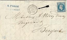 1874 - Lettre De Calais Affr. N°60  Oblit. Losange L C 1°  Avec Cad AMB.  LILLE A CALAIS  1°  D - Poststempel (Briefe)